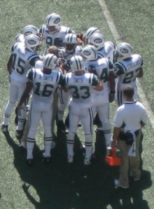 Jets Huddling Up Prior To Home Opener Against The Patriots